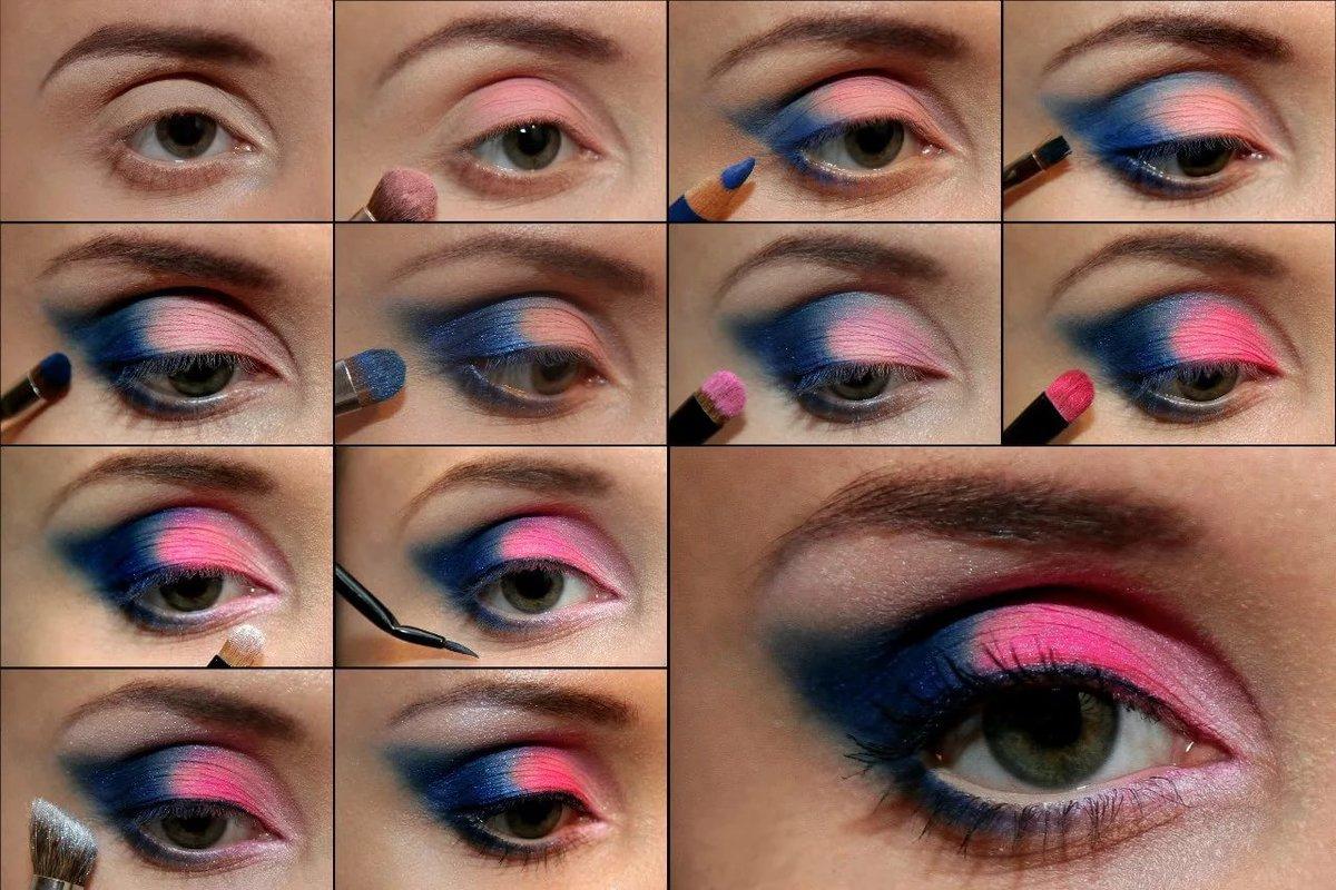 Голубой макияж в домашних условиях фото пошагово