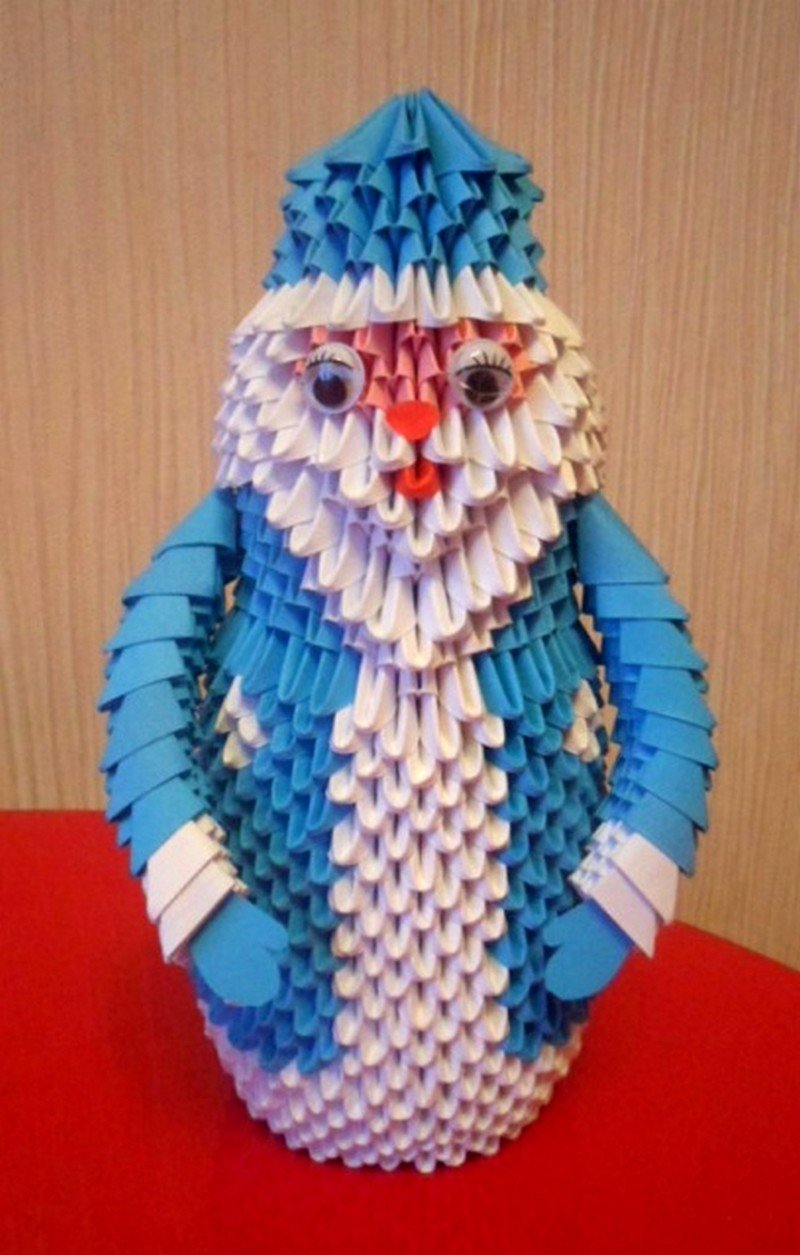 Дед мороз из модульного оригами схемы сборки