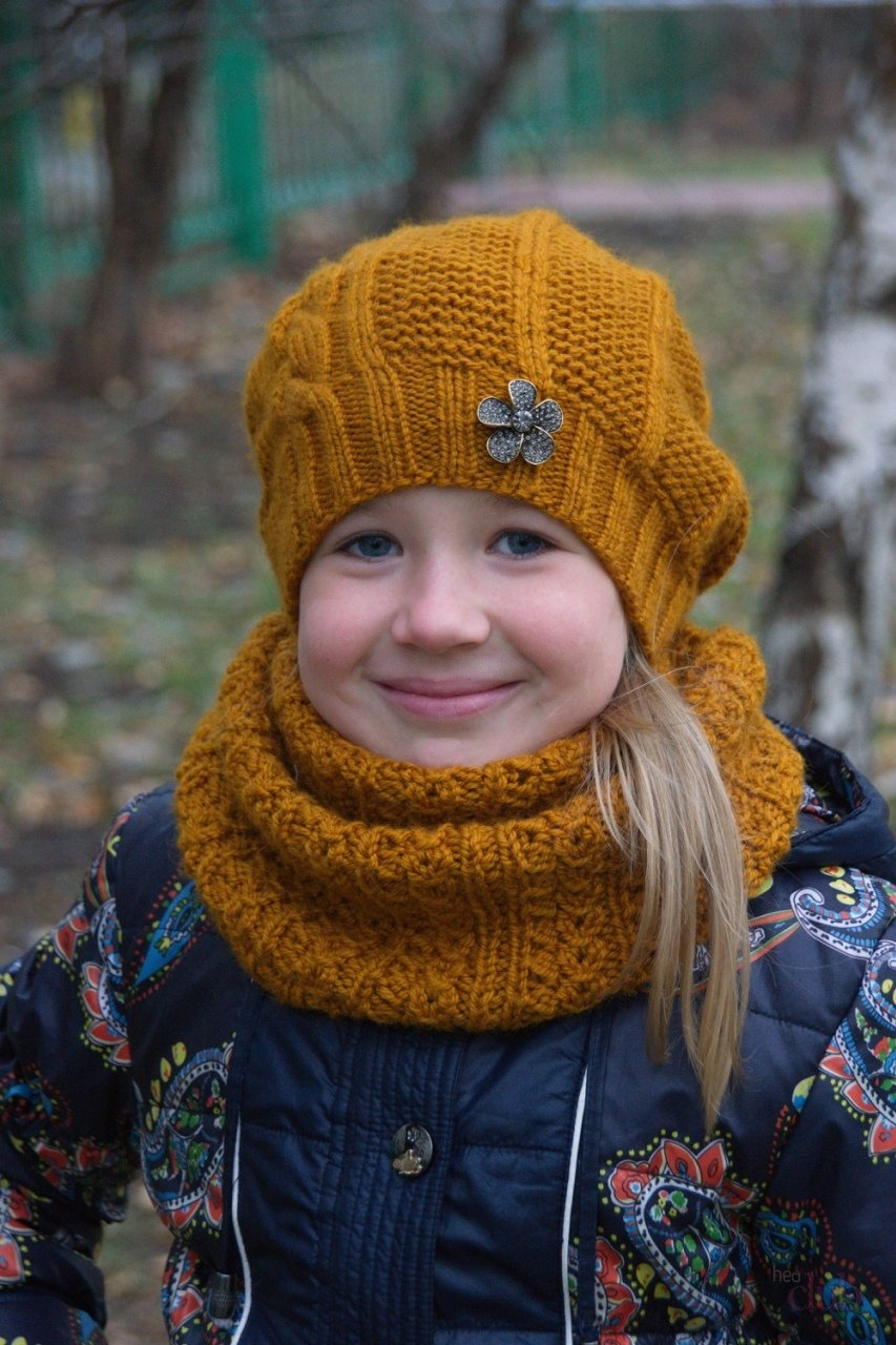 Вязание спицами снуд для девочки 415