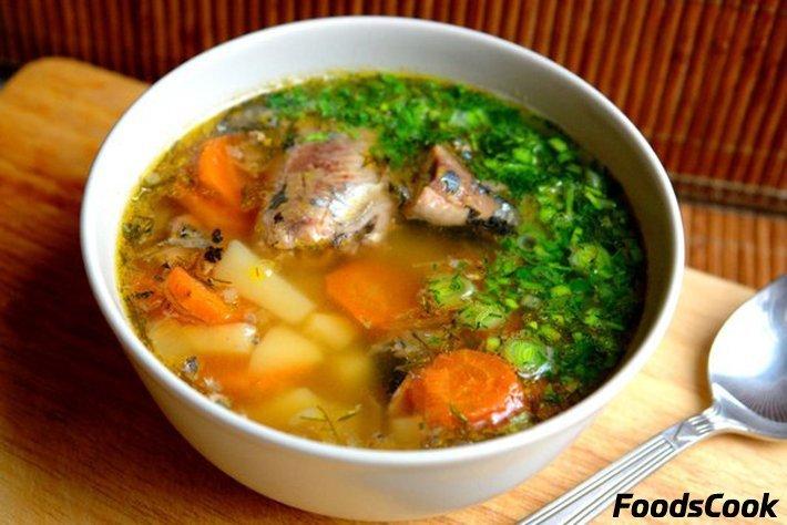 Пошаговой супа с рыбной консервы