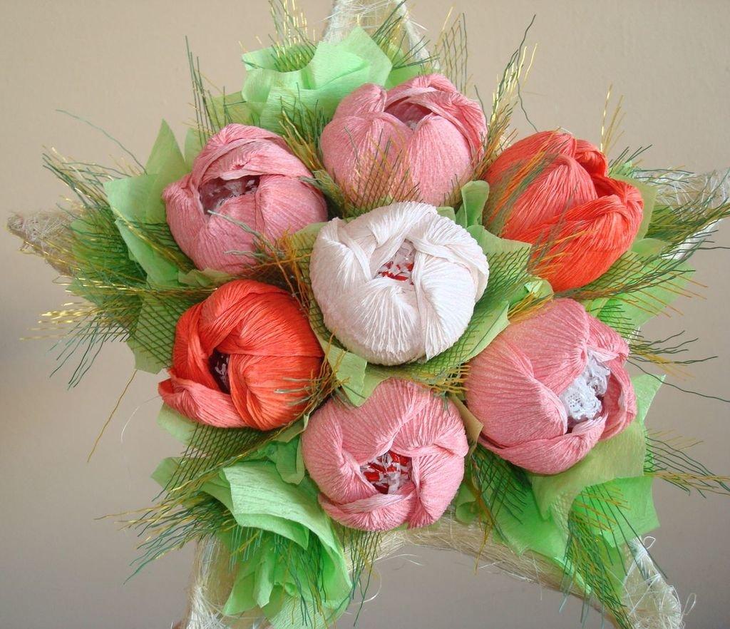 Все цветы из конфет своими руками 60