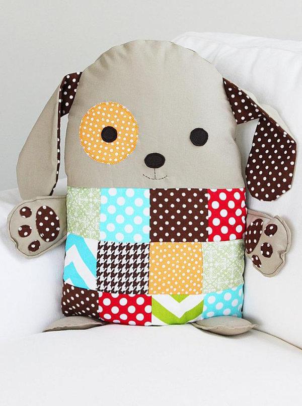 Декоративная подушка собачка своими руками 41