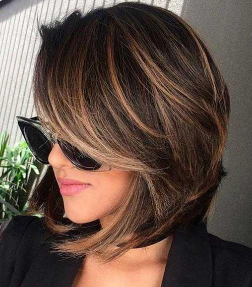Фото прическа каре коричневый цвет