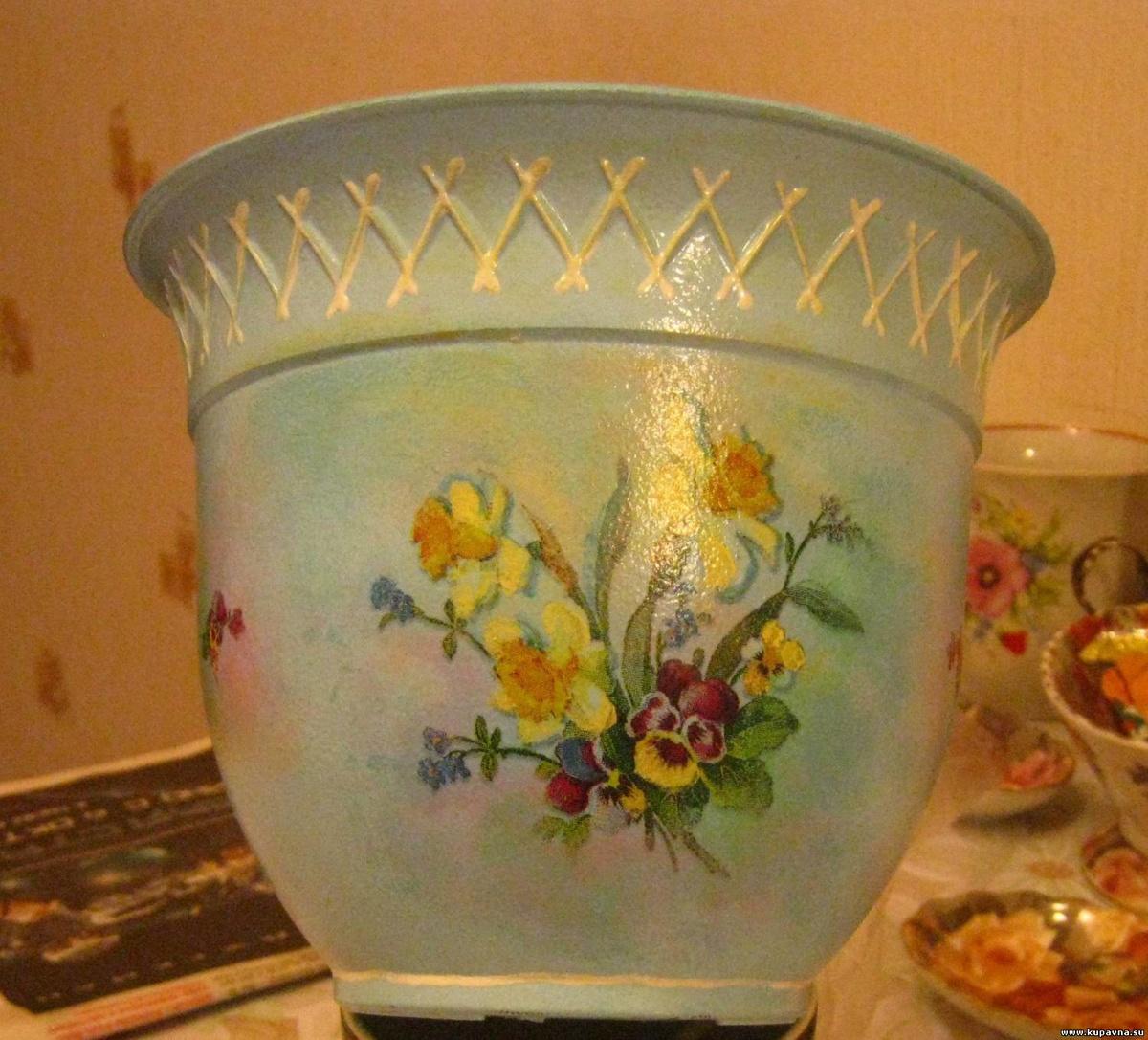 Фото декупажа вазонов для цветов
