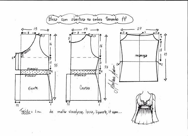 Выкройка блузки в горошек своими руками 13