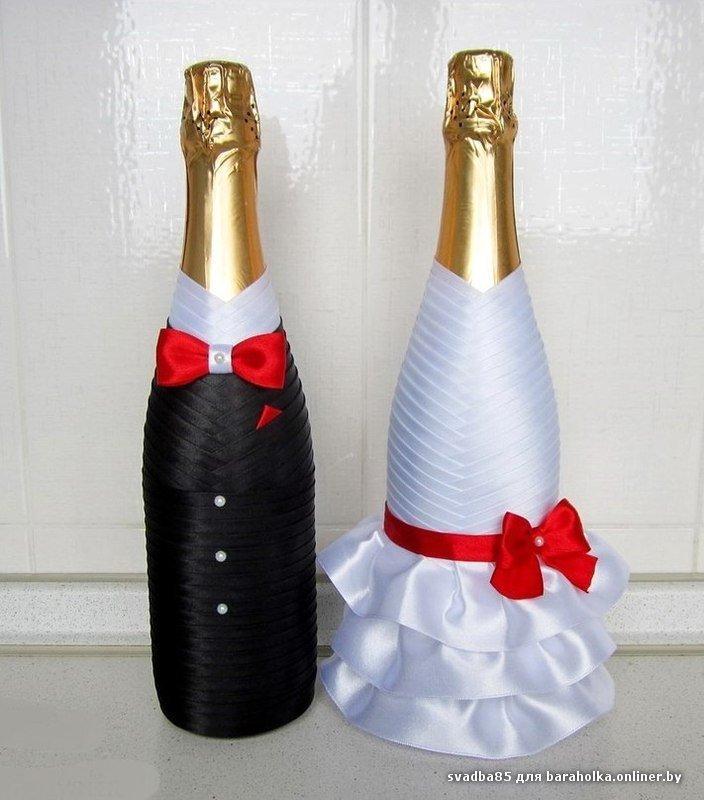 Как украсить свадебное шампанское своими руками из лент