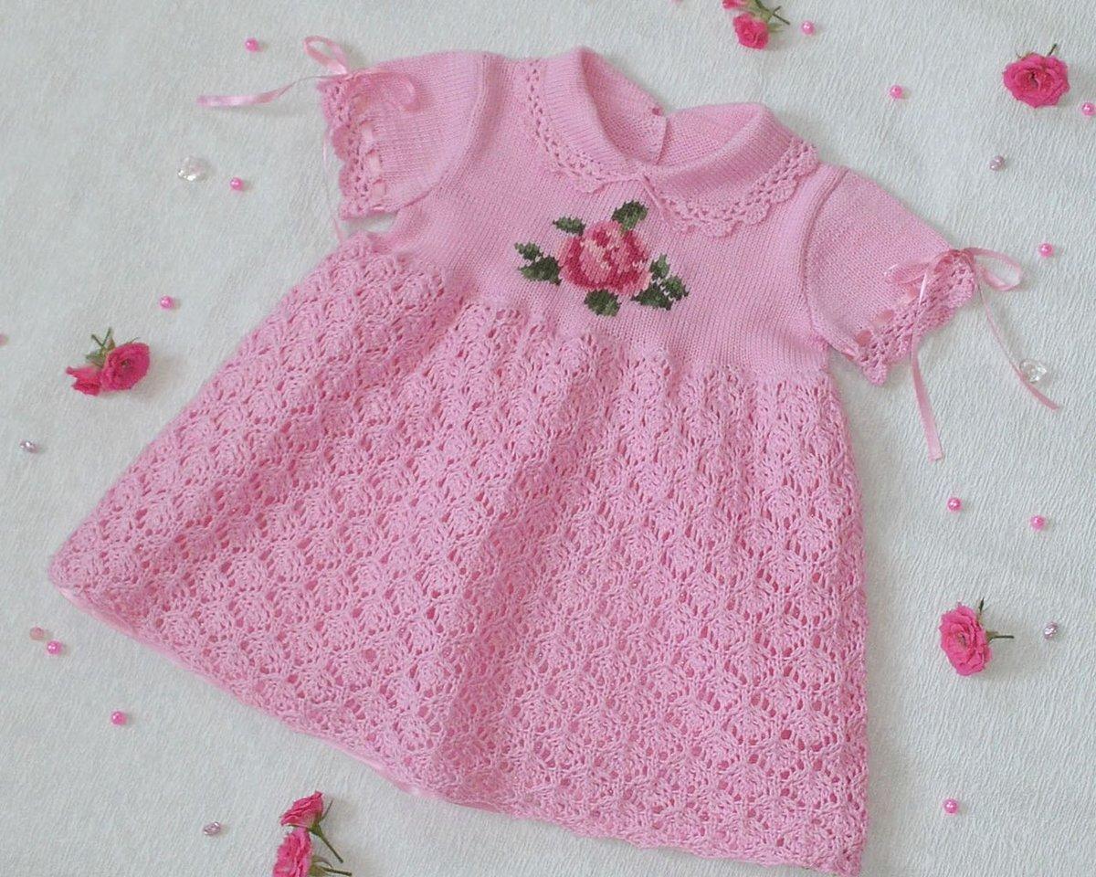 Вязание спицами детские платья для маленьких