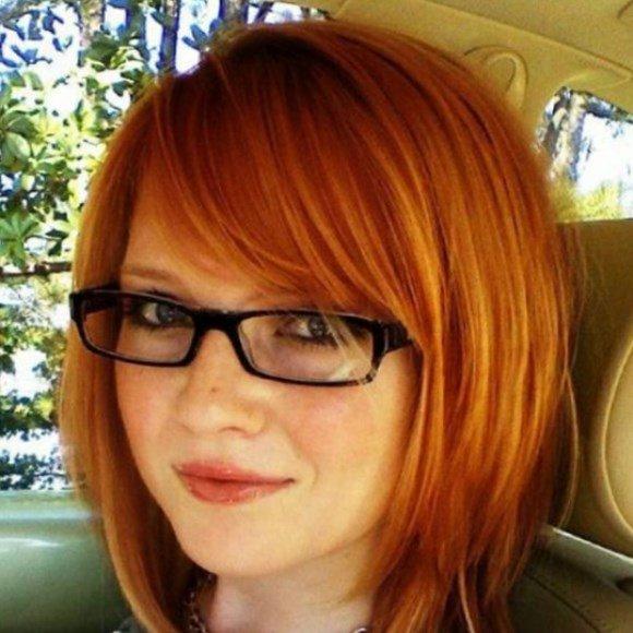Стрижка каре с рыжим цветом волос