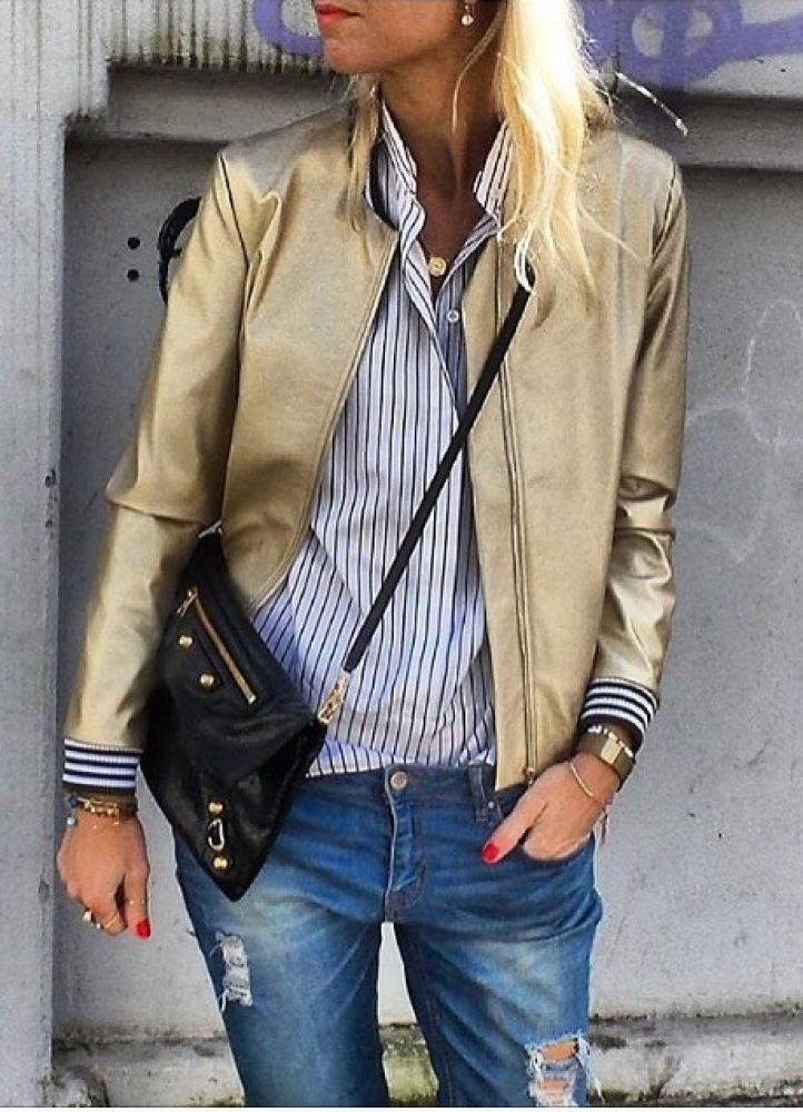 Куртка бомбер кожаная женская
