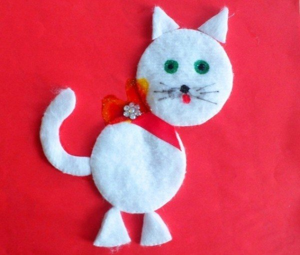 Поделки из ватных дисков кошка 49