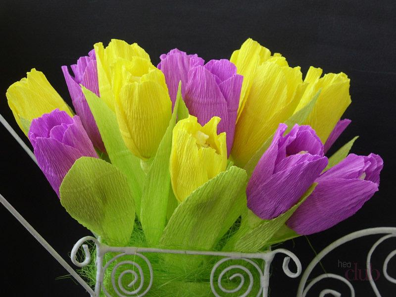 Тюльпан из гофробумаги