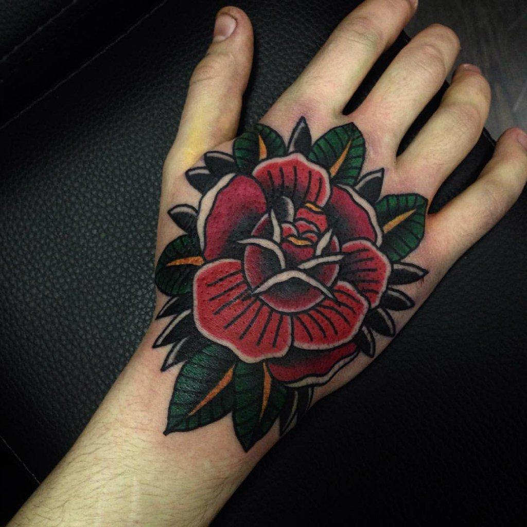 Тату на кисти с розами для мужчин