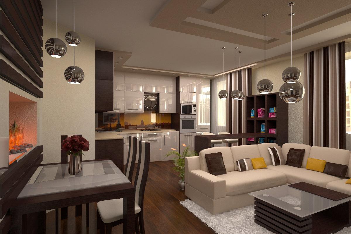 Дизайн кухни 13 квм с барной стойкой и диваном.