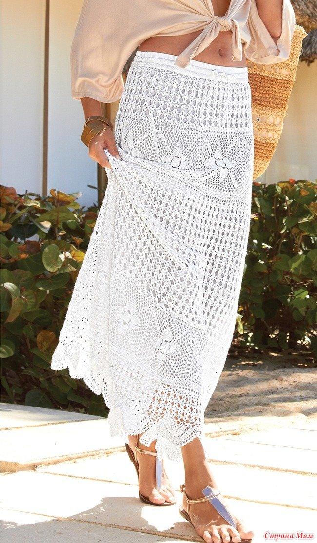 Вязание крючком юбка на лето для женщин