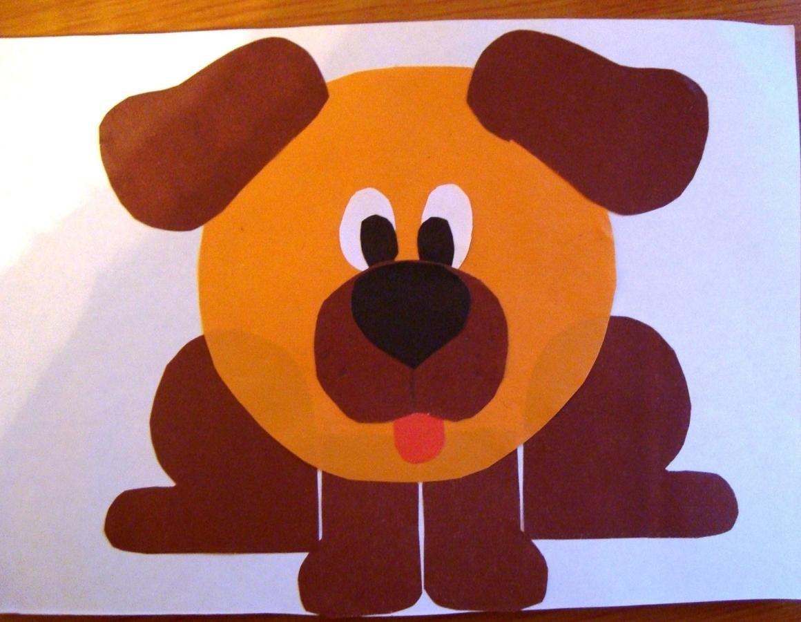 Аппликация из цветной бумаги собачка