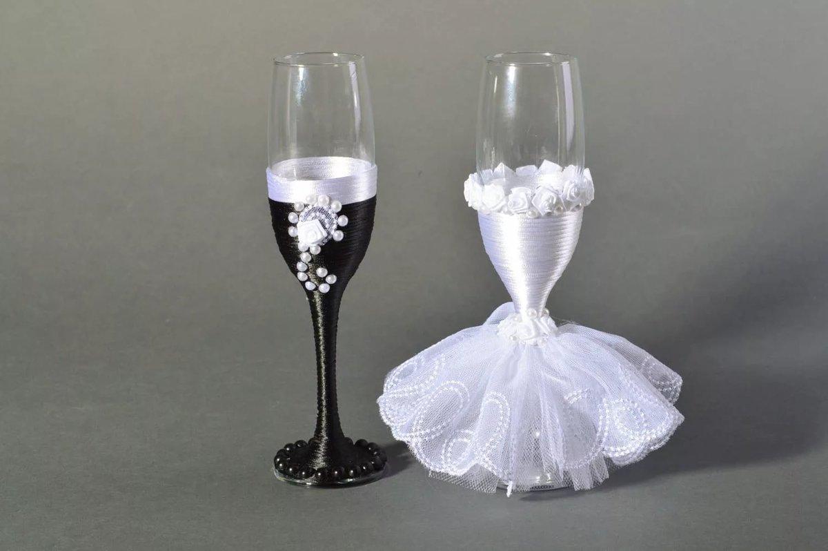 Фужеры жених и невеста своими руками фото 7