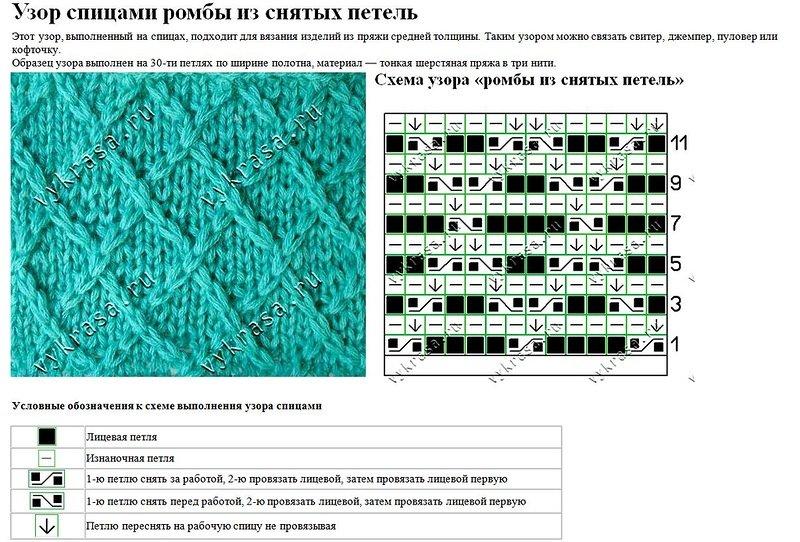 Вязание спицами узоры ромбами с описанием и схемами 428