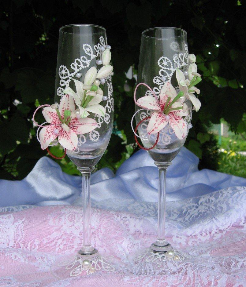 Свадьба оформить бокалы на свадьбу своими руками