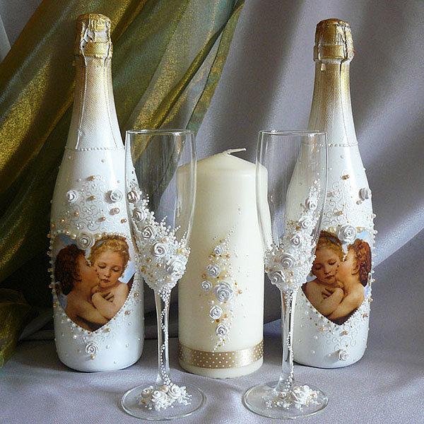 Декупаж бокалов шампанского