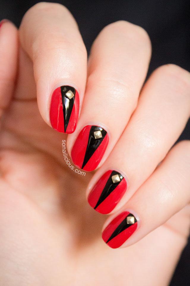 Дизайн красно черных ногтей