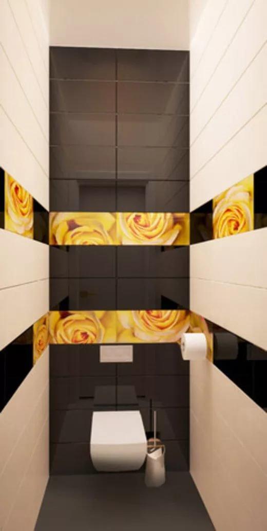 Чёрная плитка в туалете дизайн
