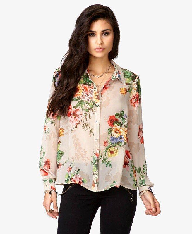 Рубашка в цветочек женская