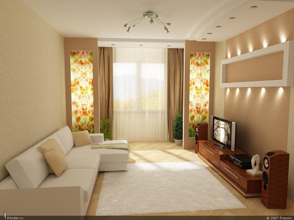 Интерьеры зала в квартире прямоугольной