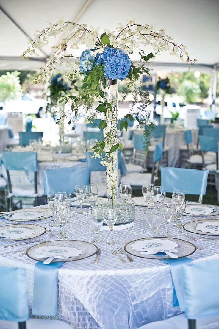 Оформление свадьбы в синем цвете, фото воплощения