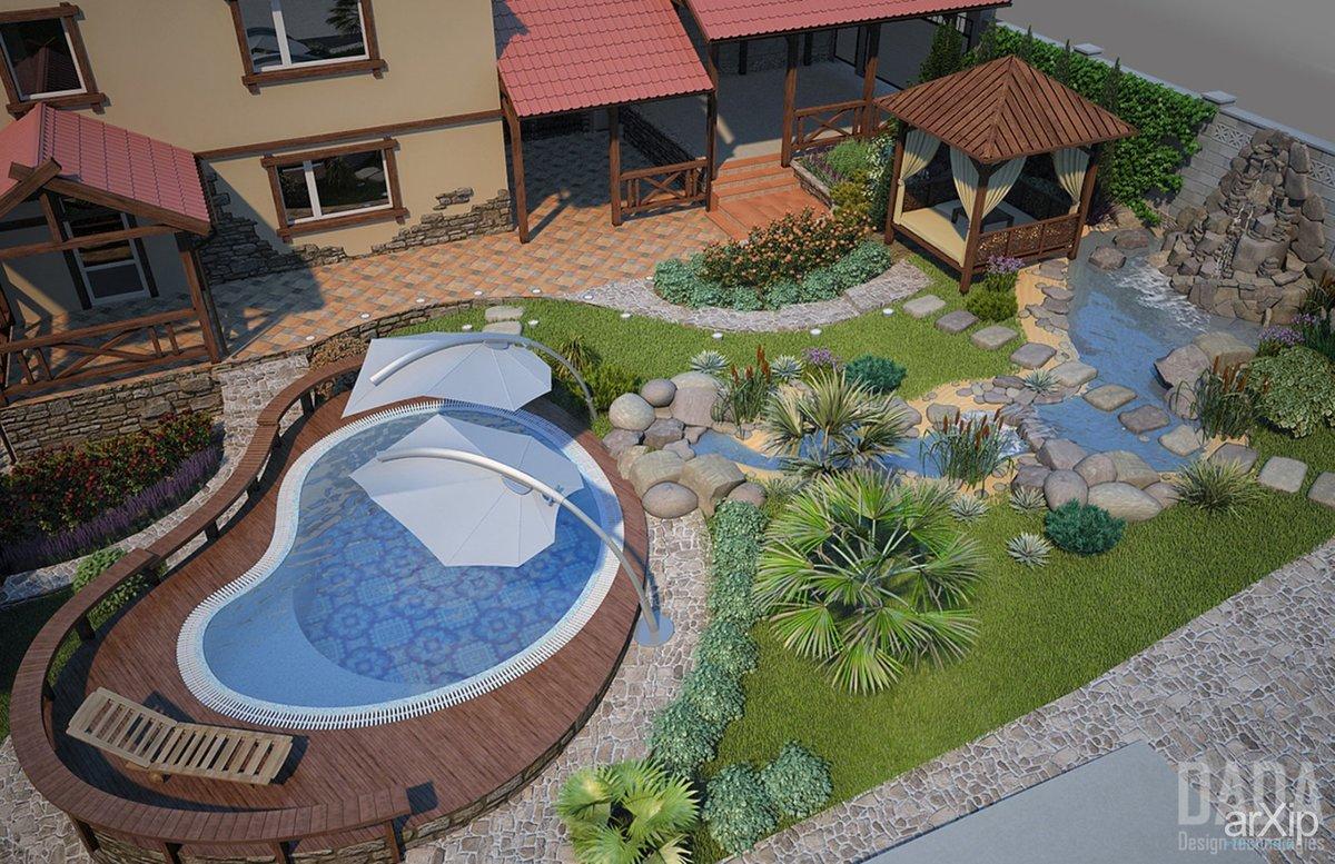 Ландшафтный дизайн частного дома 10 соток