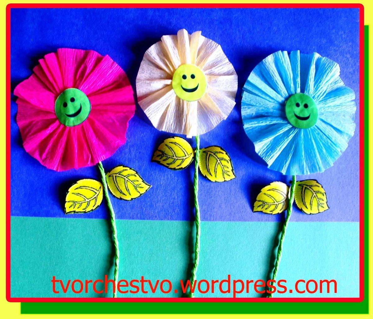 Как сделать цветы из бумаги своими руками в детском саду 80