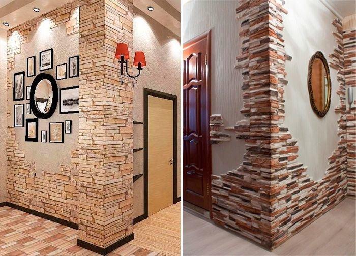 Дизайн прихожей использованием камня