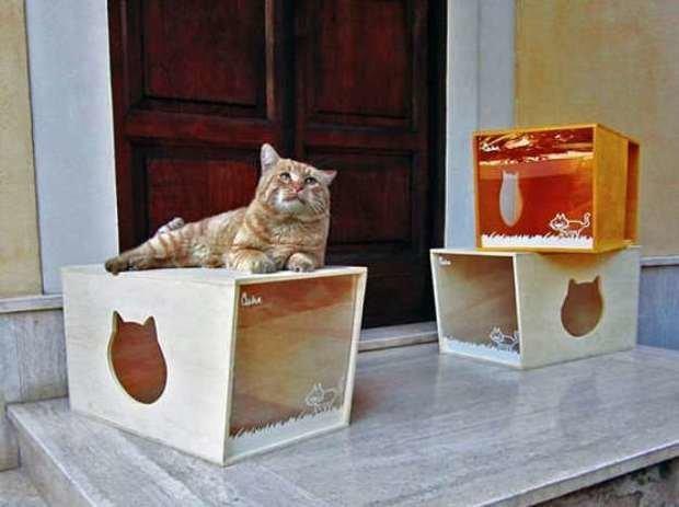 Как сделать домик для кошки из фанеры