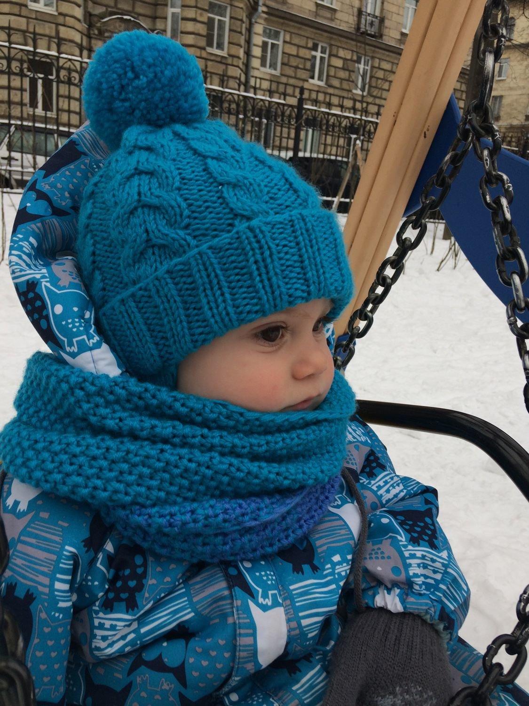 Шапка и шарф для мальчика. Вязание спицами. вязание 1