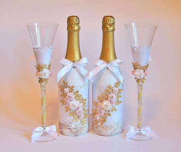 Как украшают бутылки шампанского на свадьбу