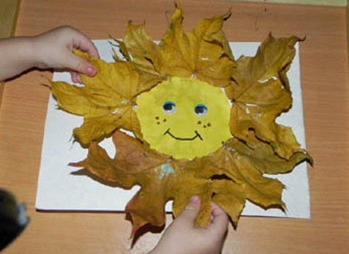 Солнышко из кленовых листьев своими руками