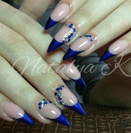 Острые ногти дизайн фото френч синий