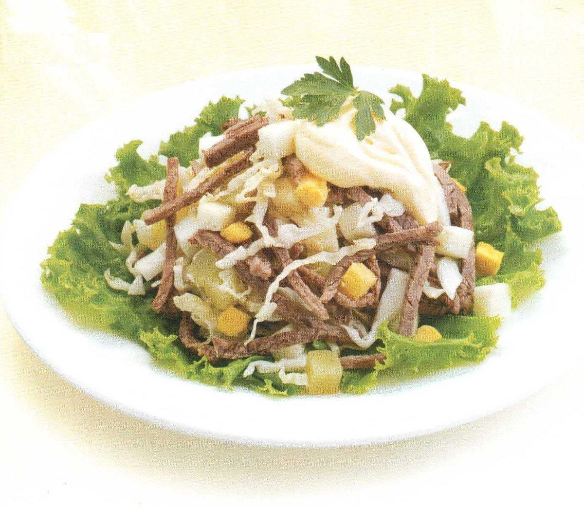Мясные салаты с майонезом рецепты