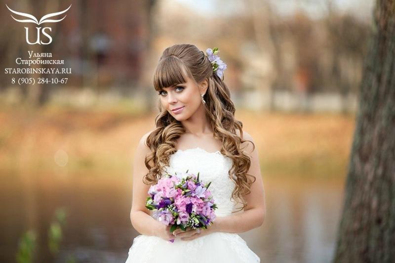Красивая прическа на длинные волосы с челкой