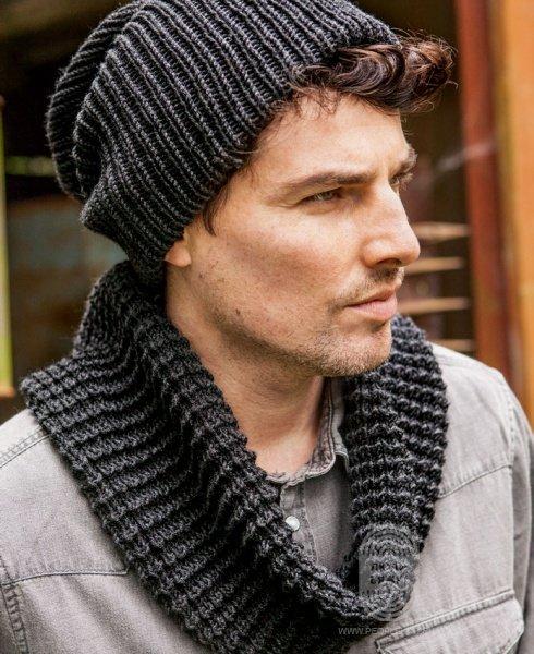 Вязание шапок спицами для мужчин модные модели 2018 42