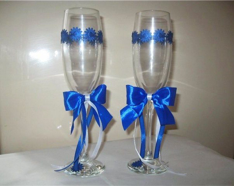 Свадебных бокалов своими руками синий 81
