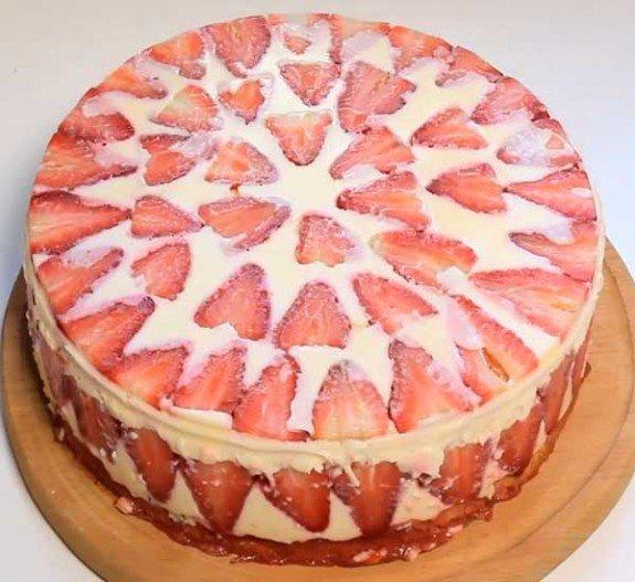 Творожный торт с фруктами рецепт с пошагово