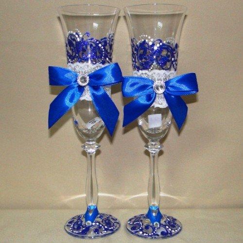 Свадебных бокалов своими руками синий 11