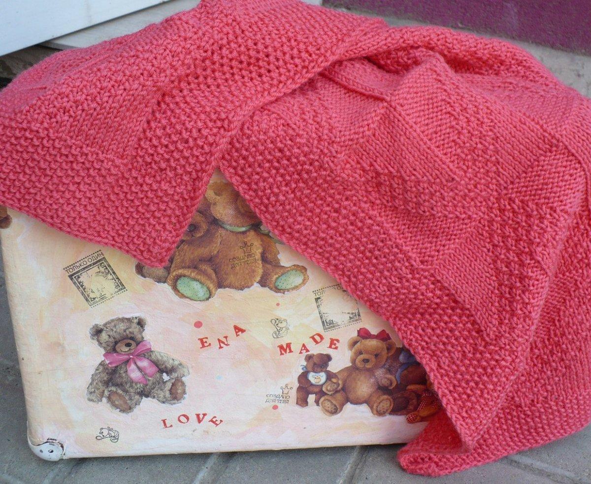 Вязание плед для новорожденного спицами
