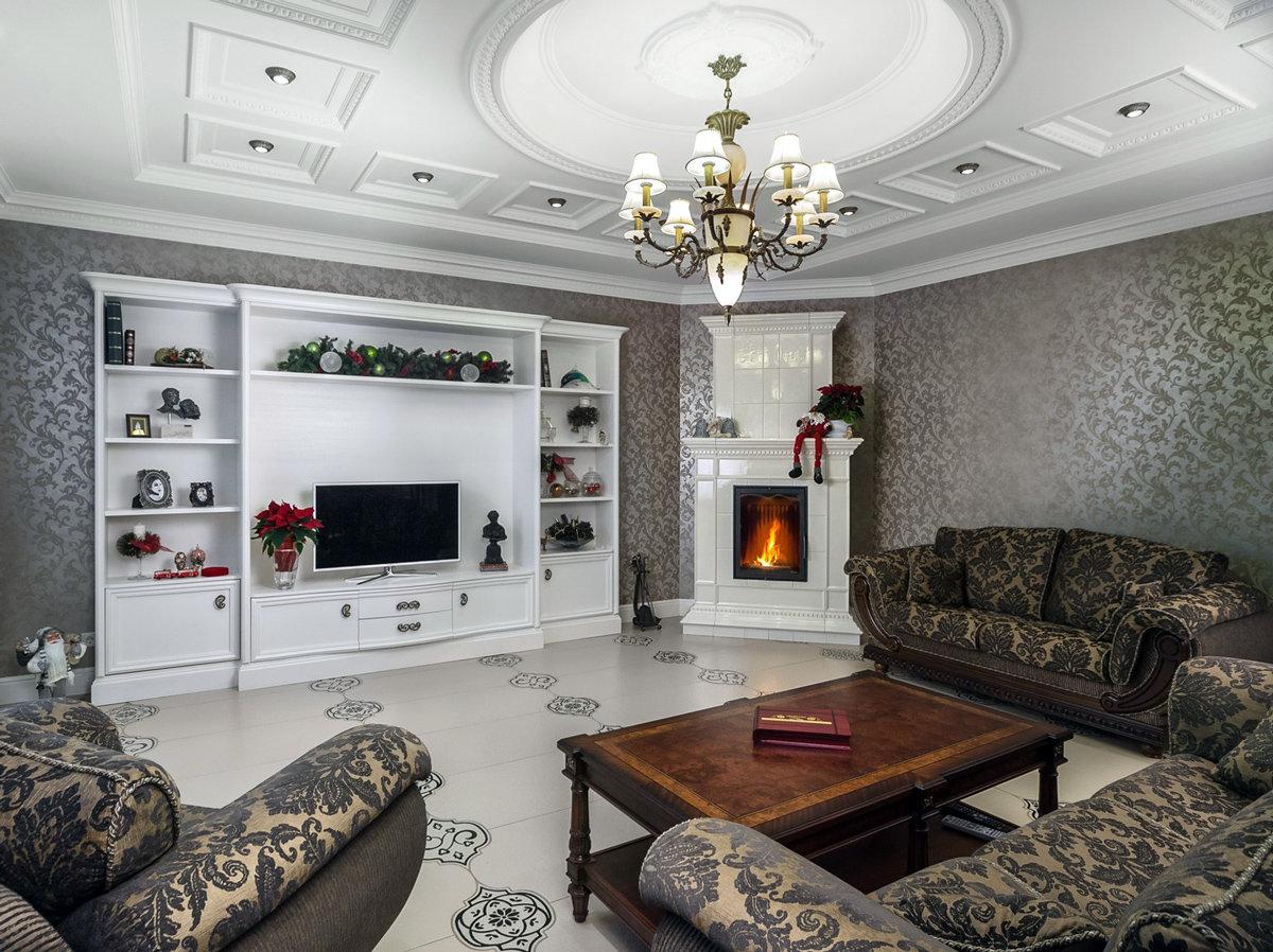 Дизайн интерьера комнаты 15 кв.м с угловым камином