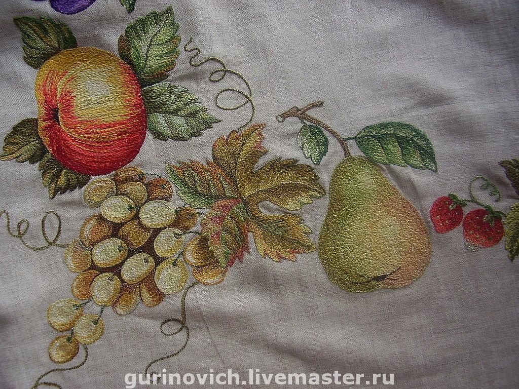 Вышивка фрукты гладью