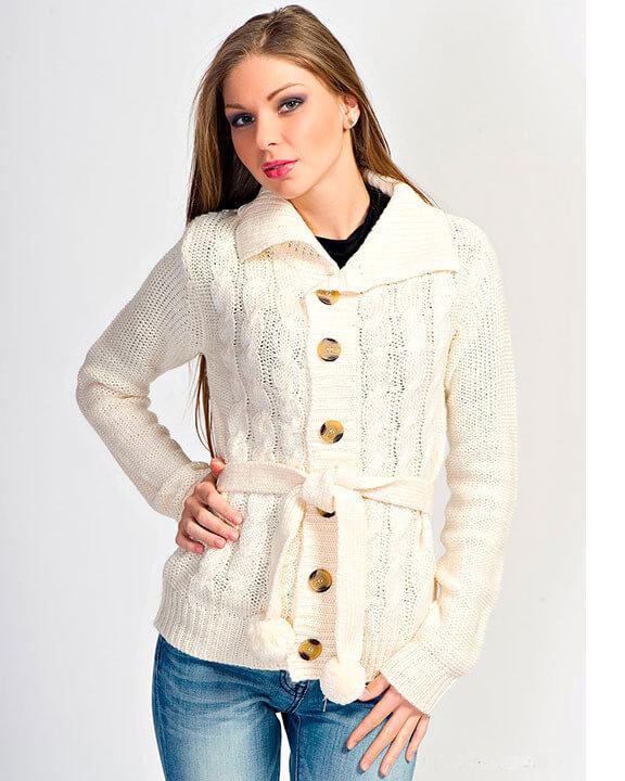 Вязание женских теплых кофт спицами 22