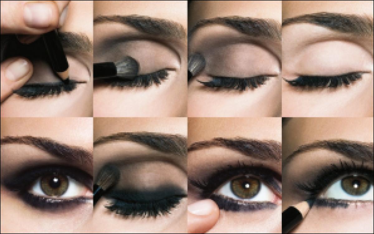 Как нанести на глаза макияж смоки айс для