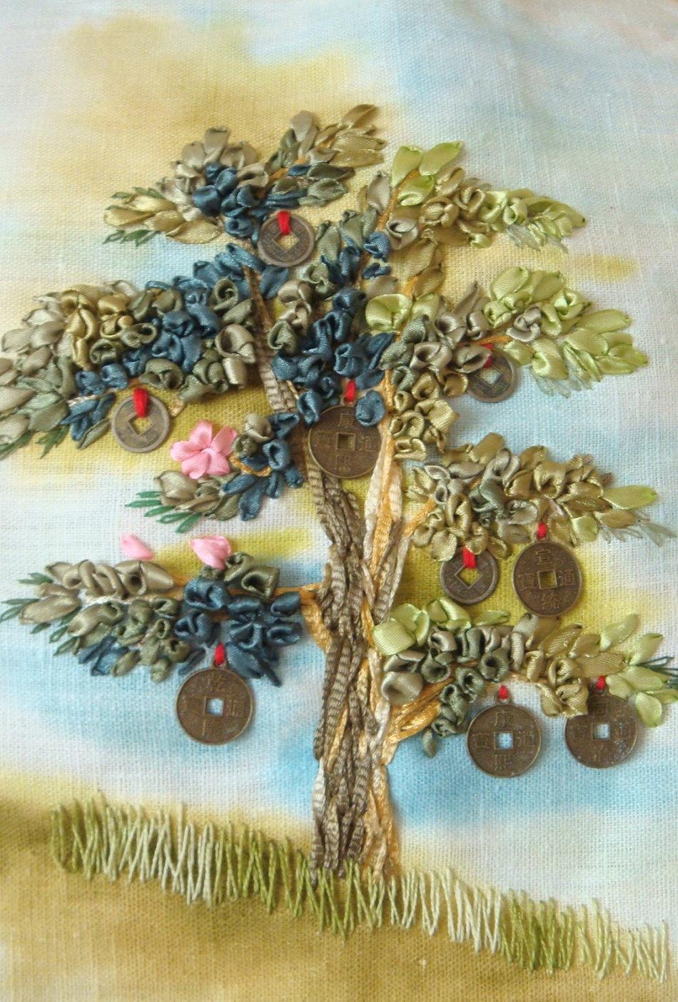 Вышивка дерева лентами 74