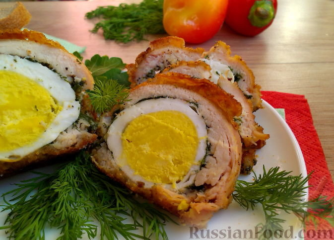 Рецепт куриный рулет с яйцом