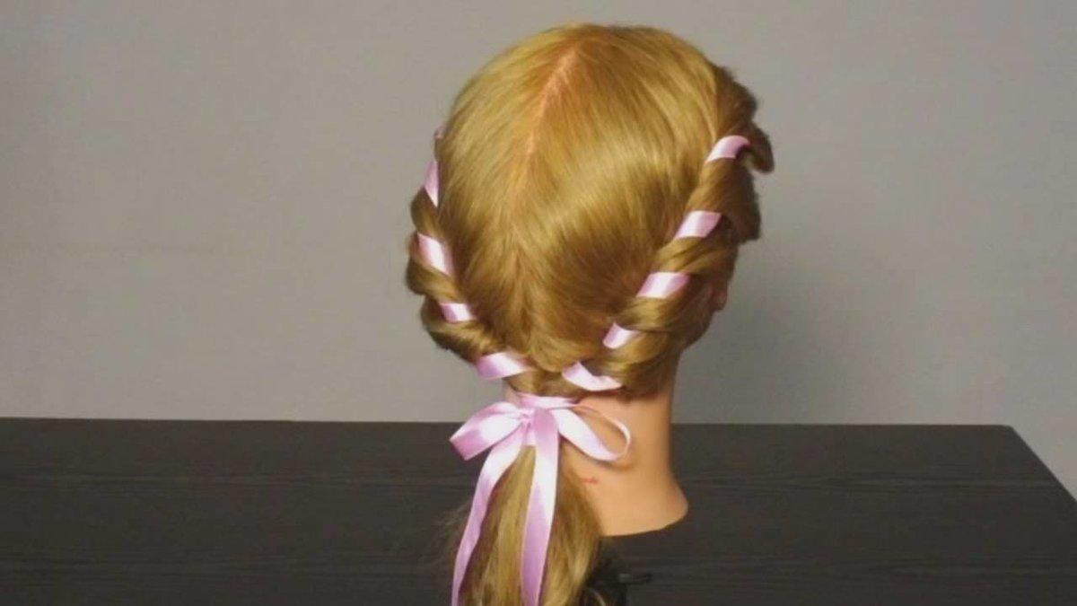 Прическа на короткие волосы лента в косе